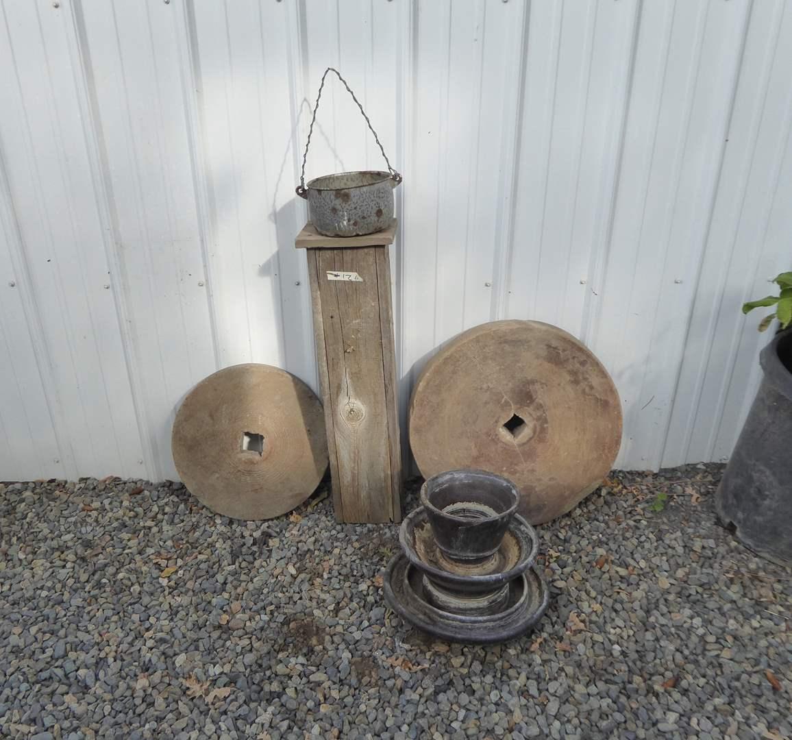 Lot # 126 - Large Vintage Insulator & Grinding Wheels  (main image)