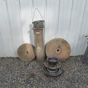 Lot # 126 - Large Vintage Insulator & Grinding Wheels