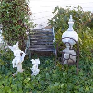 Lot # 121 - Cute Cast Iron & Wood Bench, Resin Figurines, Fiberglass Garden Ornament &  Cast Iron Marker