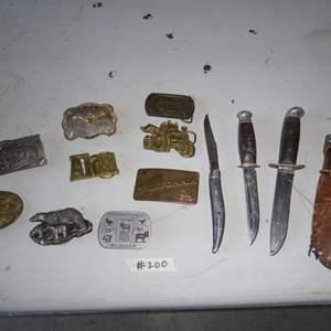 Lot # 200 - Vintage Belt Buckles & Knives