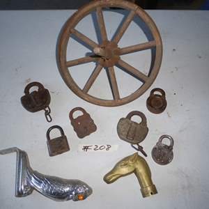 Lot # 208 - Vintage Brass Handle, Antique Locks, Wood & Metal Wheel & Hood Ornament