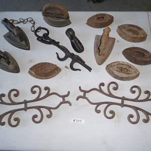 Lot # 209 - Antique Sad Irons & Metal Decoration