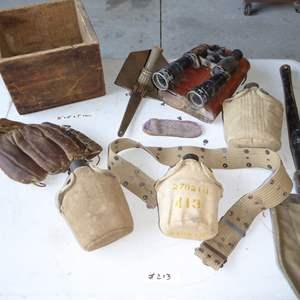 Lot # 213 - Vintage Military Canteens, Old Baseball Mitt & Ammo Wooden Box