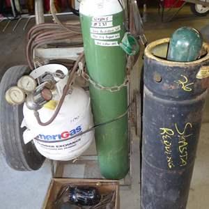 Lot # 221 - Oxy Acetylene Tanks/ Propane Cutting Torch Set Up on Heavy Duty Rolling Cart