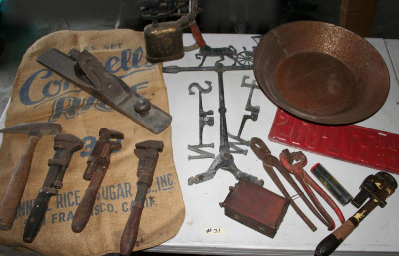 Lot #31 - Collectible Tools, Torch, Weathervane, License Plate .. ..  (main image)