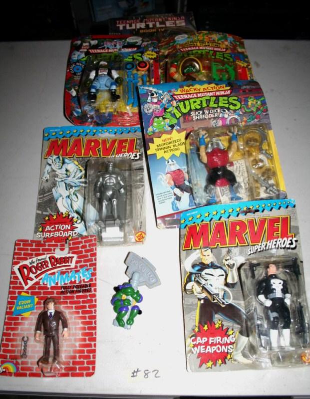 Lot #82 - Ninja Turtle, Marvel Heroes & Roger Rabbit Figures in Package (main image)