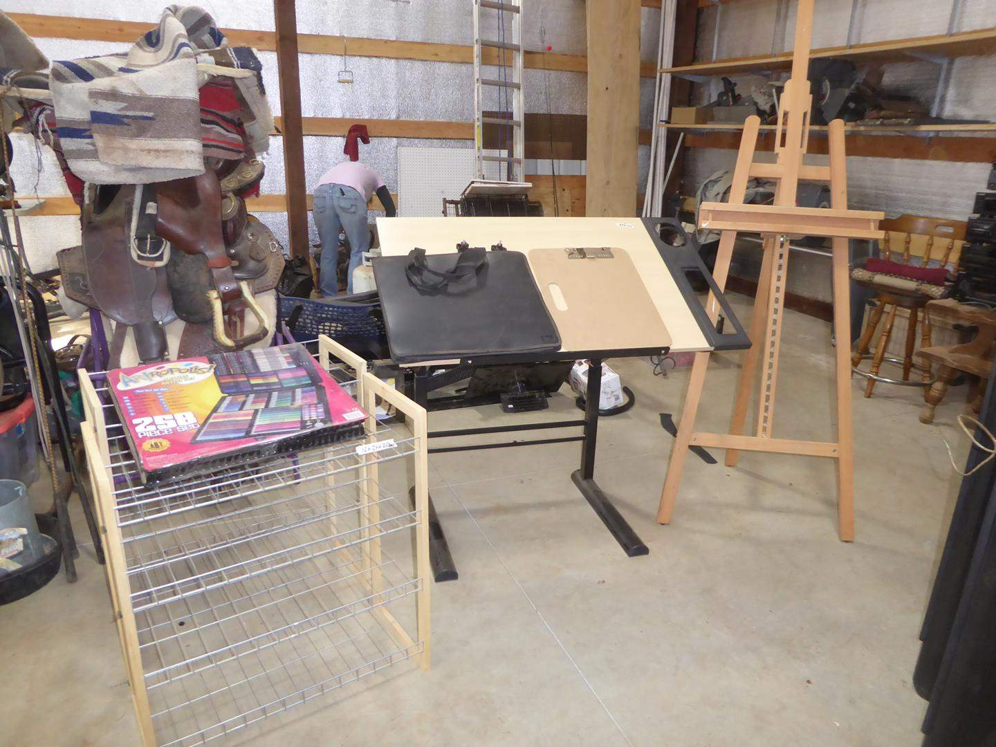 Lot # 57 - Deluxe Artist Set, Two Wire Shelves, Adjustable Drafting Drawing Board & Easel