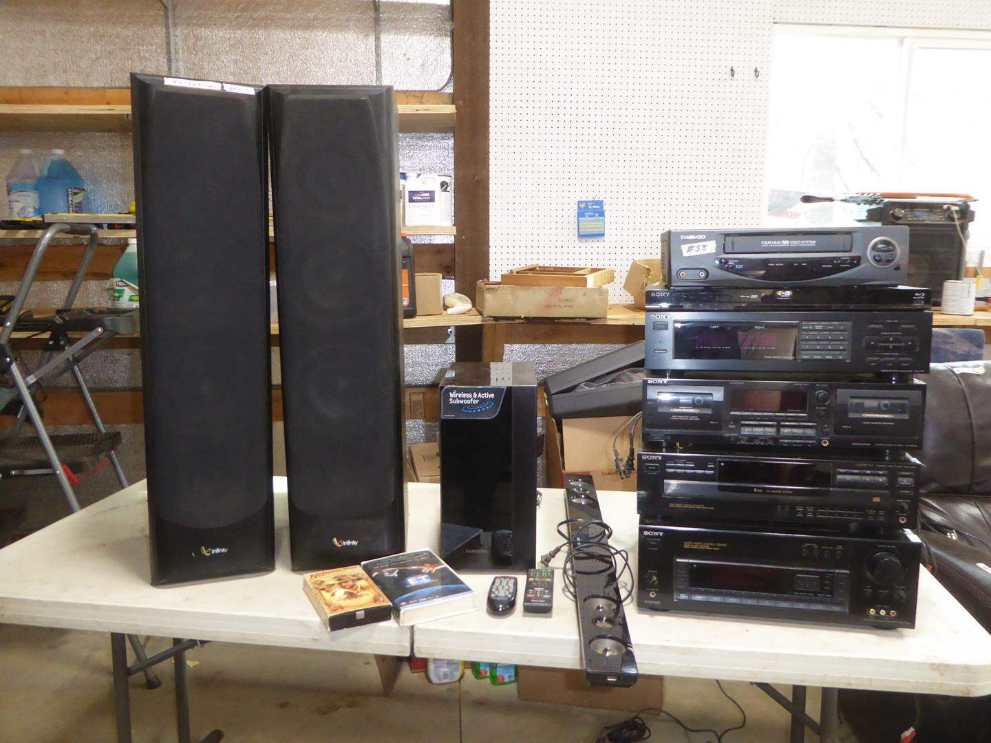 Lot # 58 - Daewoo VHS Player, Sony Blu-Ray Player, Sony Equalizer, Sony Receiver Cassette Deck, Subwoofer & Speakers