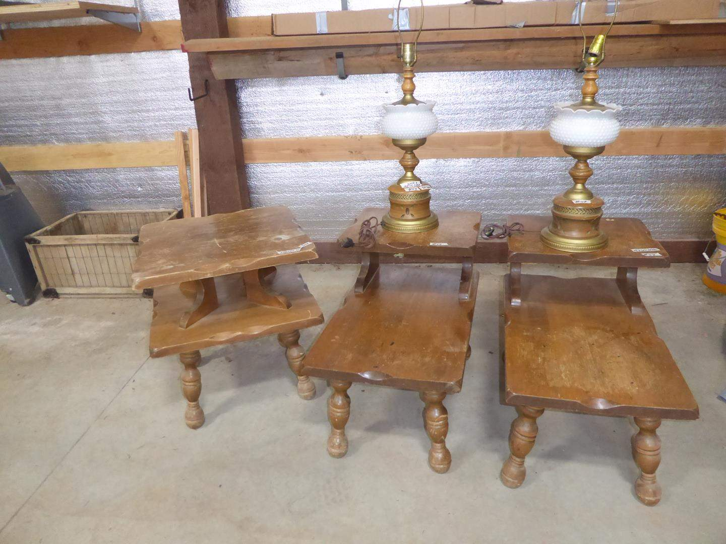 Lot # 59 - Vintage Solid Wood End Table, Pair Solid Wood Step Down End Tables & Pair Table Lamps