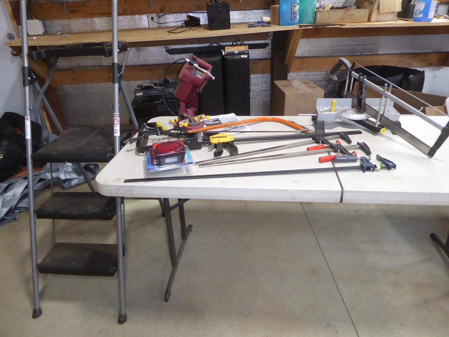 Lot # 60 - Step Ladder, Electric Chainsaw Sharpener, Miter Saw & Bar Clamps