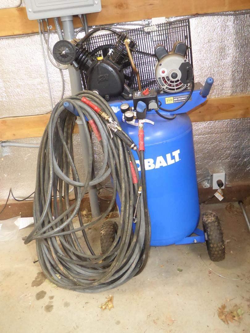 Lot # 62 - Kobalt Electric Air Compressor & Air Hoses