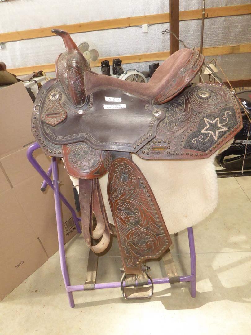 Lot # 67 - Beautiful Western Beaded Hand Tooled Leather Saddle