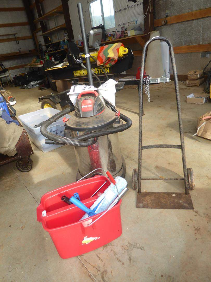 Lot # 76 - Cleaning Accessories, Dolly & Shop Vac (main image)