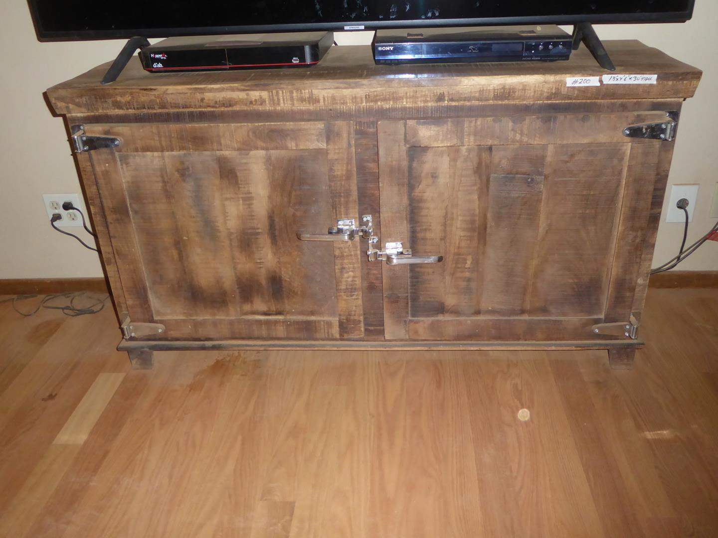 Lot # 200 - Rustic Ice Box Style Wooden TV Stand or Credenza
