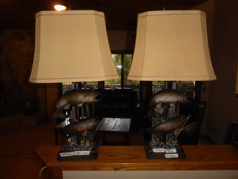 Lot # 203 - Pair Cabin Style Salmon Fish Resin Table Lamps (main image)