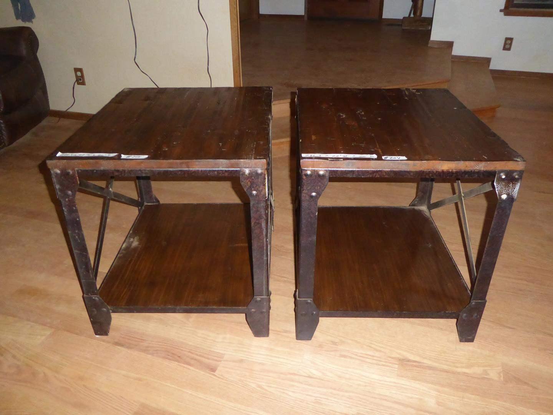 Lot # 204 - Pair Rustic Industrial Solid Wood w/Metal Frames End Tables