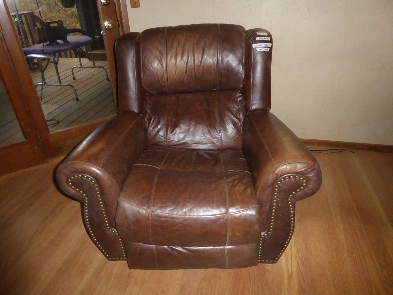 Lot # 206 - Brown Leather Swivel Rocker Recliner