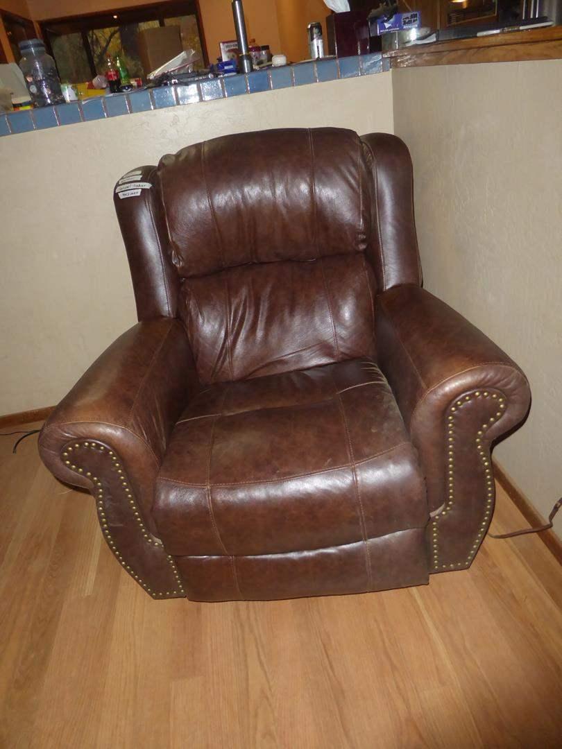 Lot # 207 - Brown Leather Swivel Rocker Recliner (main image)