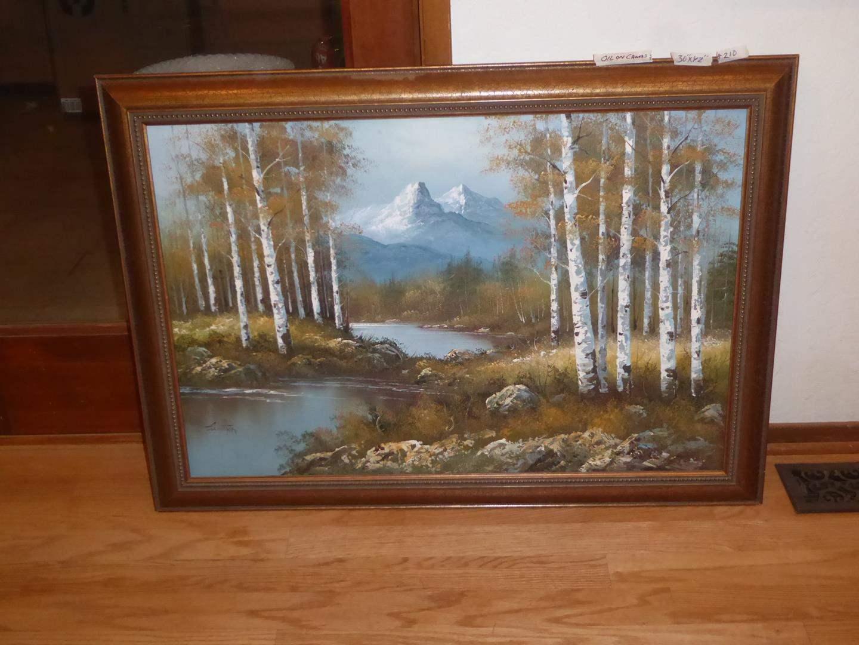 Lot # 210 - Nice Framed Oil on Canvas Painting Tree & Mountain Scene