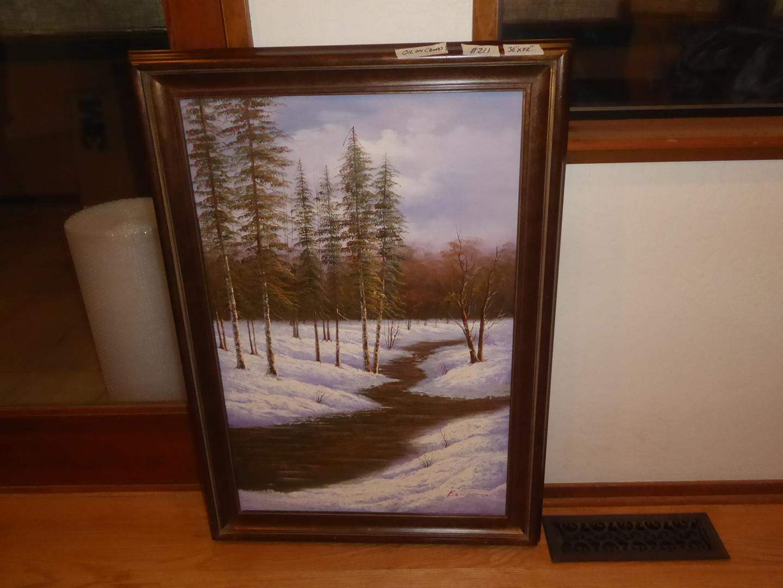 Lot # 211 - Framed Oil on Canvas Painting Snow & Tree Scene