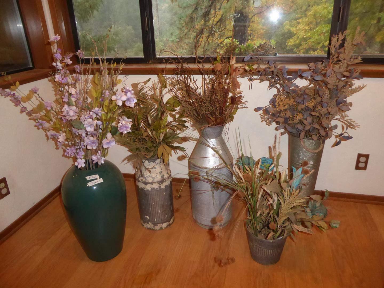 Lot # 212 - Ceramic & Metal Pots w/Artificial Arrangements