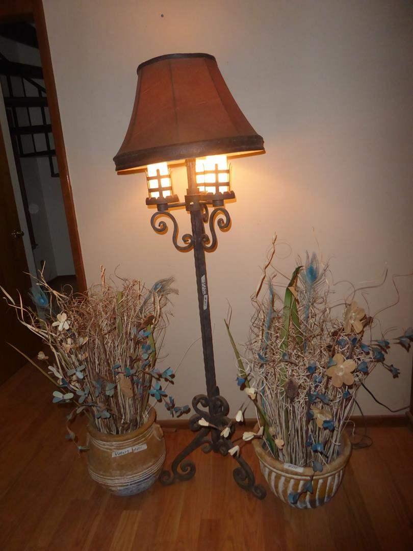 Lot # 201 - Three Way Cast Iron Floor Lamp & Two Clay Pots w/Artificial Arrangements (main image)