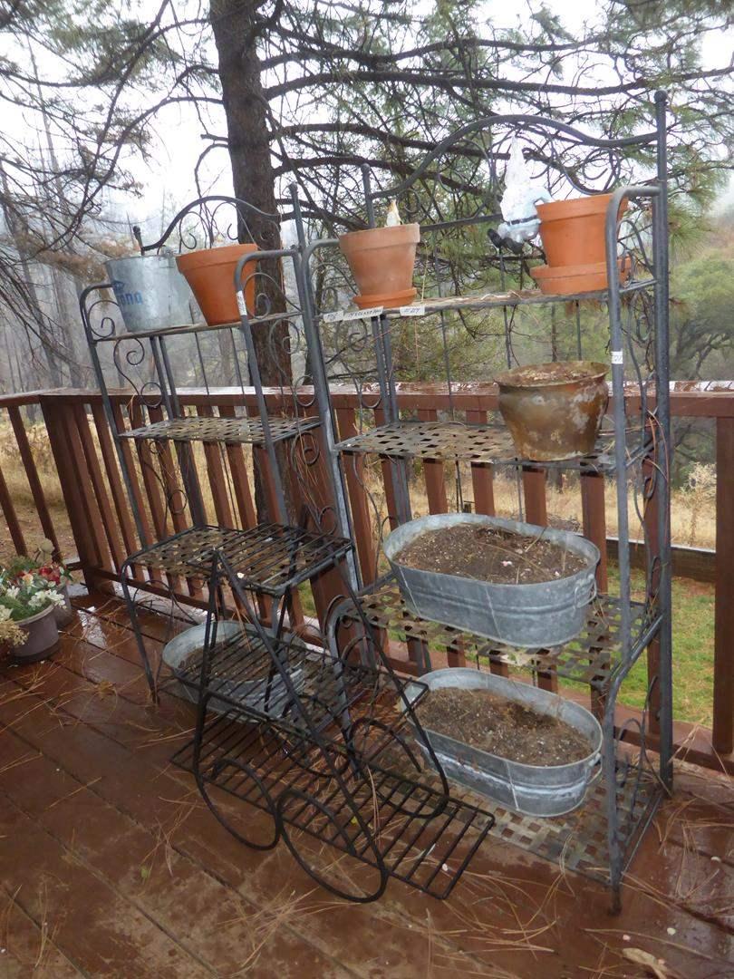 Lot # 214 - Two Metal Folding Shelves, Plant Rack & Planters
