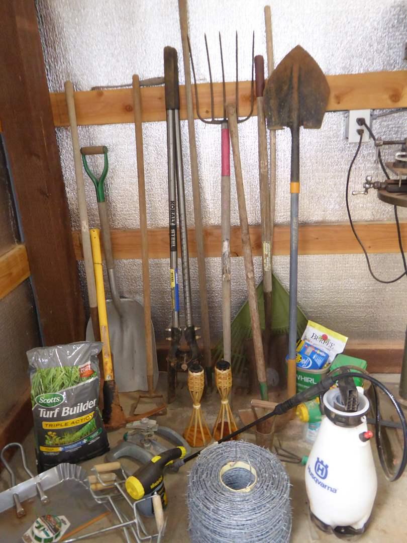 Lot # 1 - Garden Tools, Barbed Wire & Garden Supplies