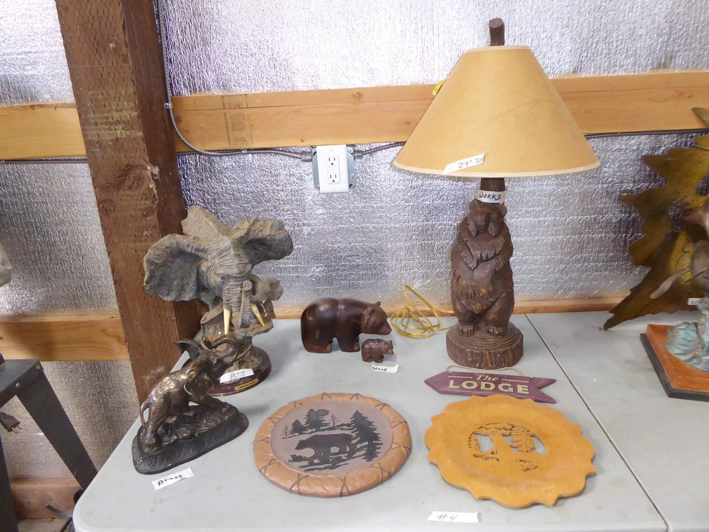 Lot # 4 - Brass, Wood & Resin Sculptures & Resin Lamp
