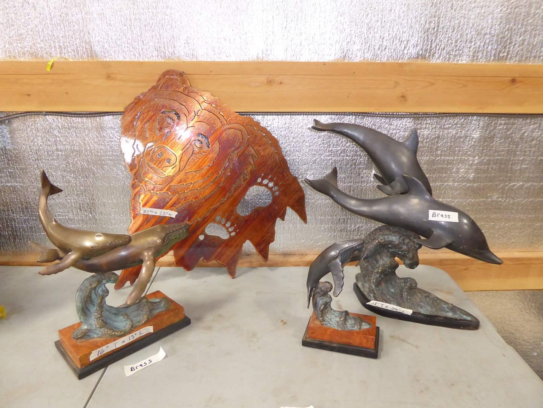 Lot # 5 - Brass Dolphin Sculptures & Metal Bear Cutout Wall Hanging