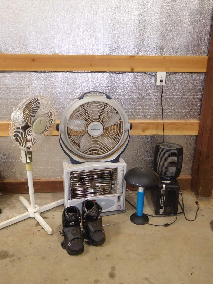 Lot # 10 - Fans, Heaters, Snowboarding Boots & Cool Lava Type Lamp