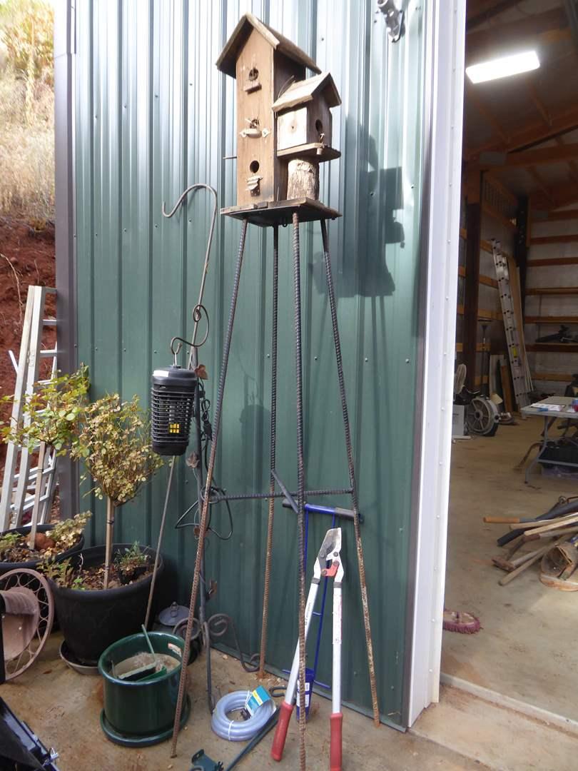 Lot # 16 - 8' Tall Bird House Decor, Two Rose Bushes & Other Garden Supplies