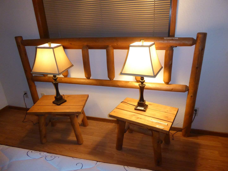 Lot # 220 - King Size Log Headboard, Matching Nightstands & Lamps