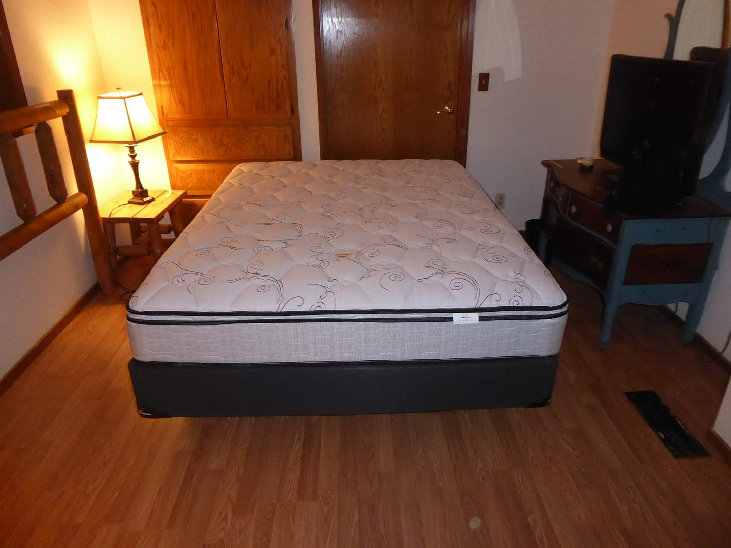 "Lot # 221 - Queen Size ""Emerald Sleep Systems"" Mattress & Boxspring W/Metal Frame  (main image)"
