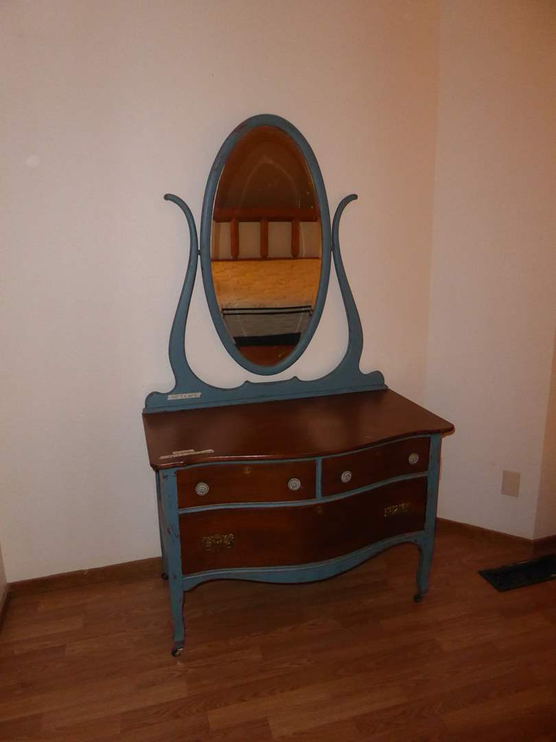 Lot # 222 - Antique Dresser W/Attached Mirror & Dovetailed Drawers  (main image)