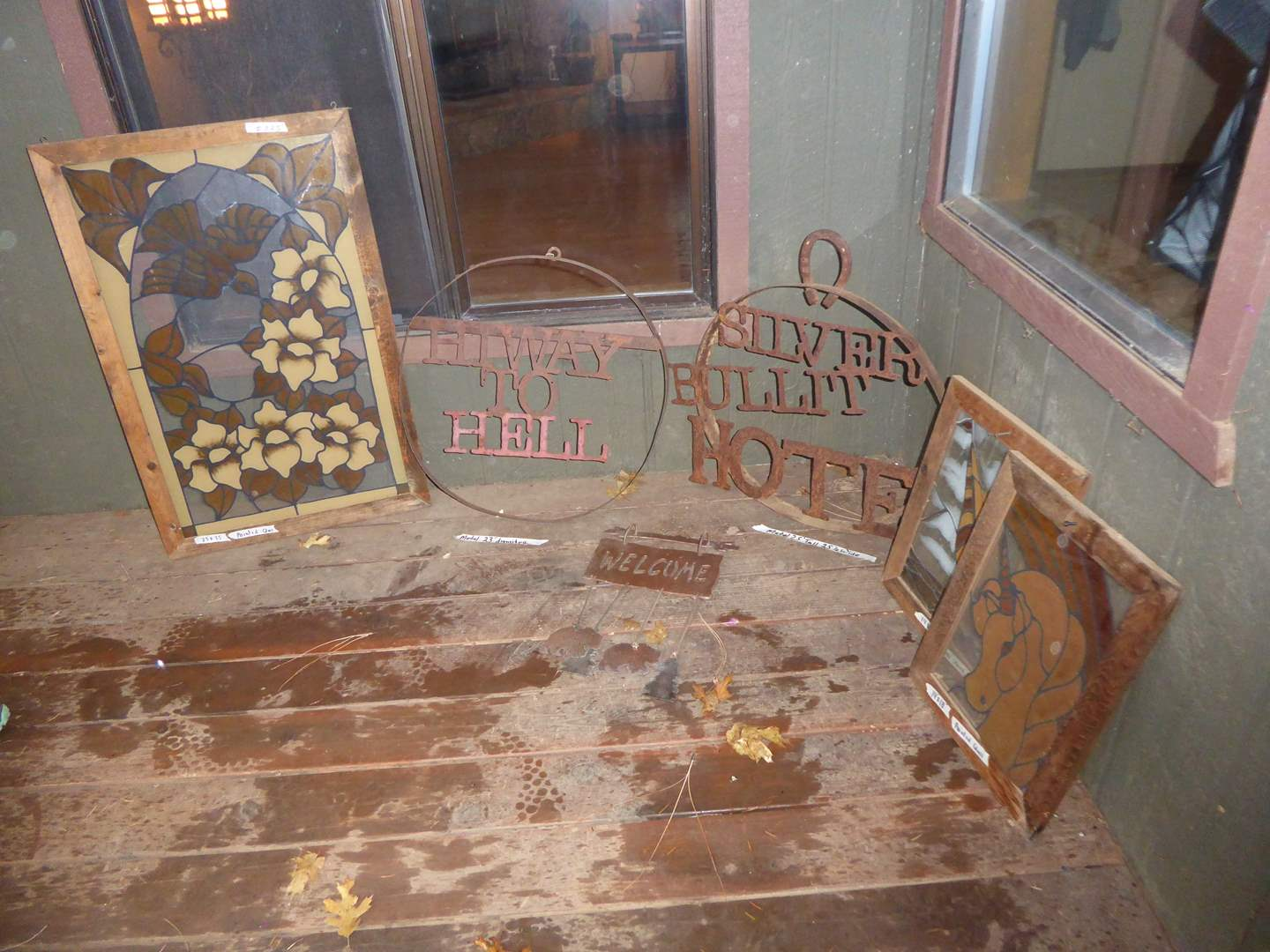 Lot # 225 - Stain Glass Hangings & Metal Signs