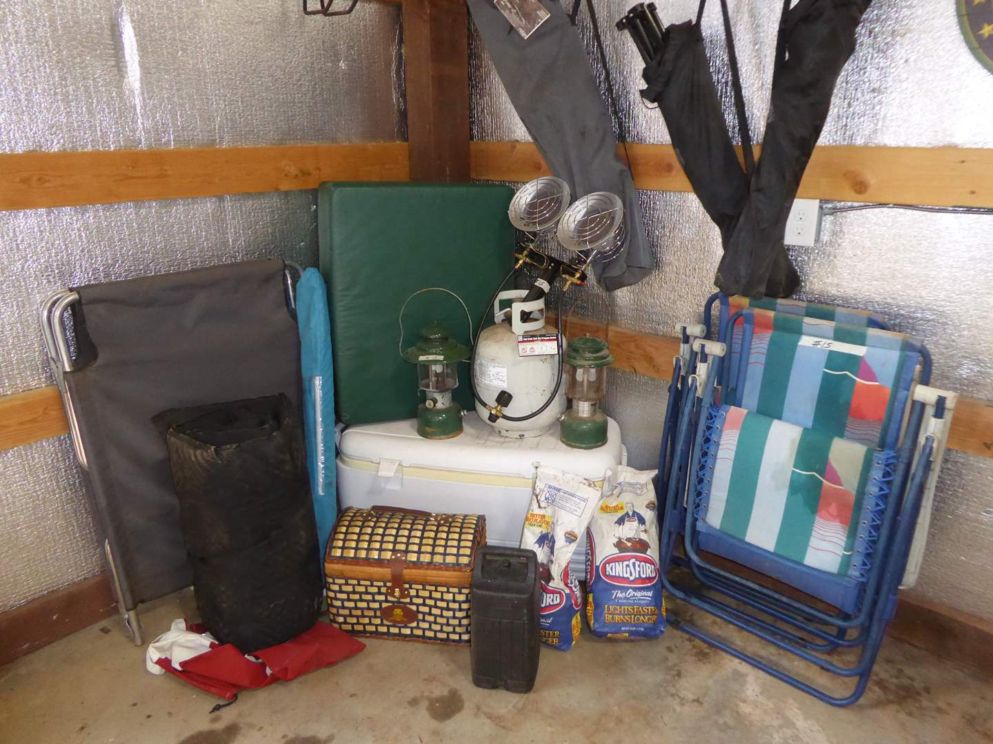 Lot # 15 - Camping Lot - Ice Chest, Folding Chairs, Heater, Lanterns & Picnic Basket