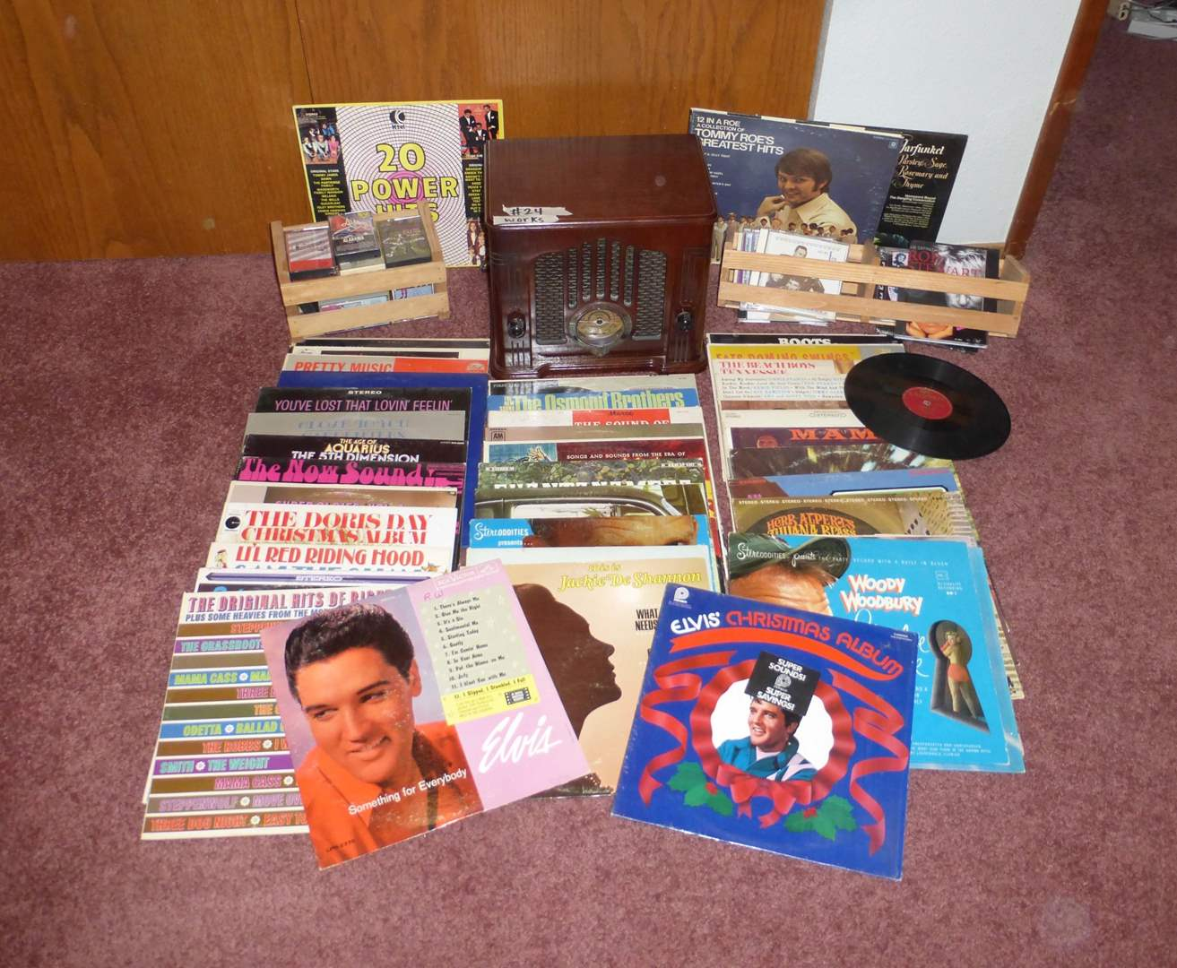 Lot #24- Classic Radio Player W/Casette Deck & Tapes & Records  (main image)