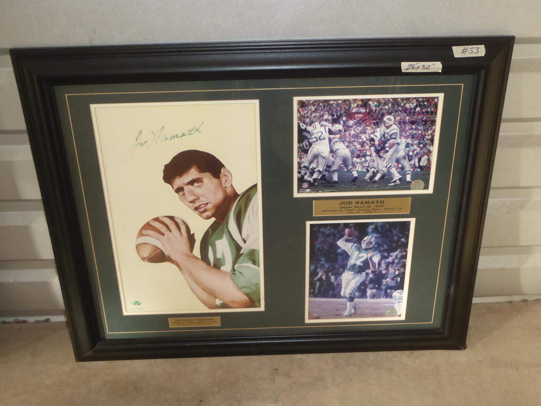Lot # 53 - Joe Namath Autograph Signed Framed NFL Photo Print Collage (main image)