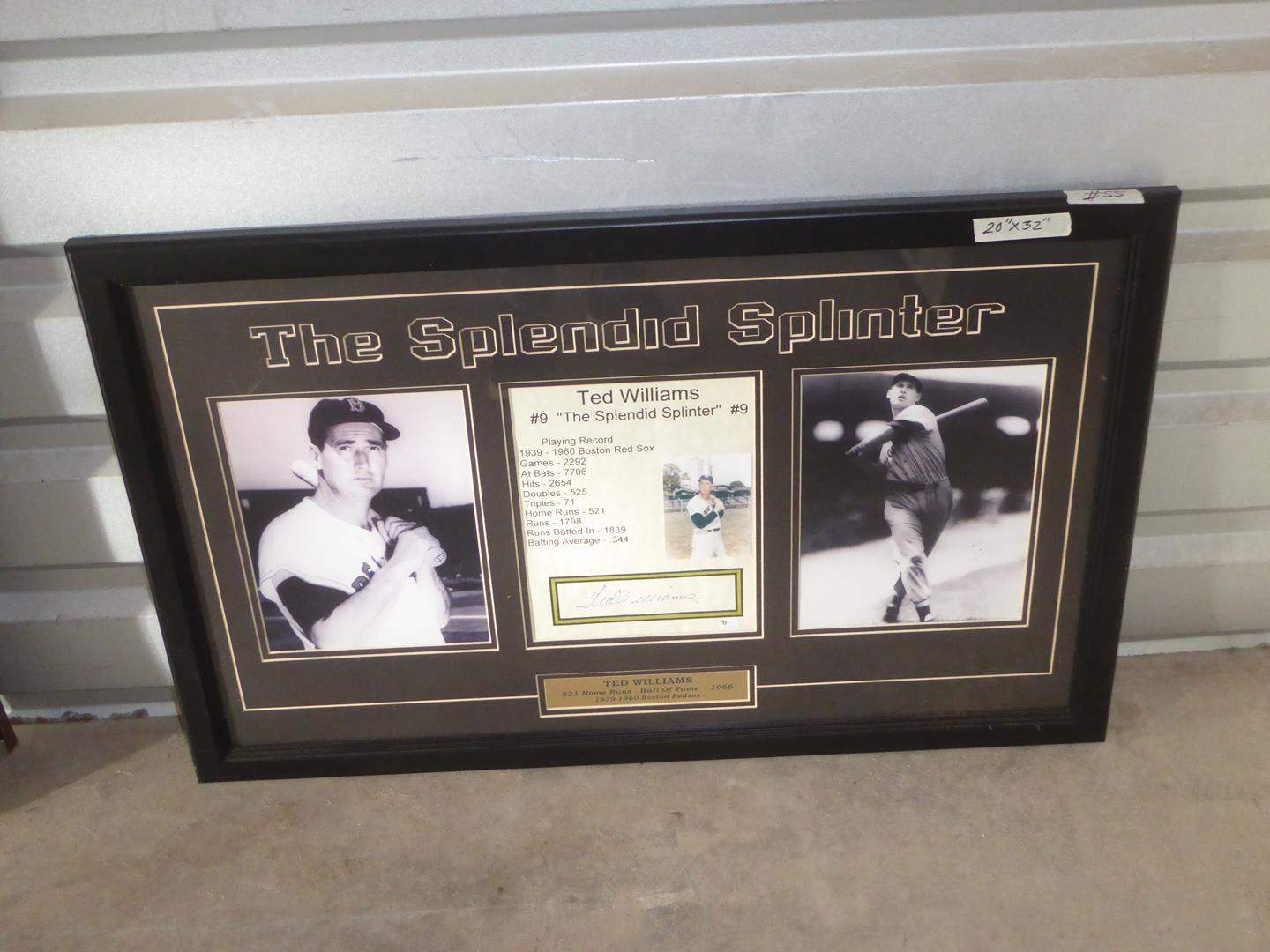 Lot # 55 - Ted Williams 'The Splendid Splinter' Autograph Signed Framed Baseball Photo Print Collage (main image)