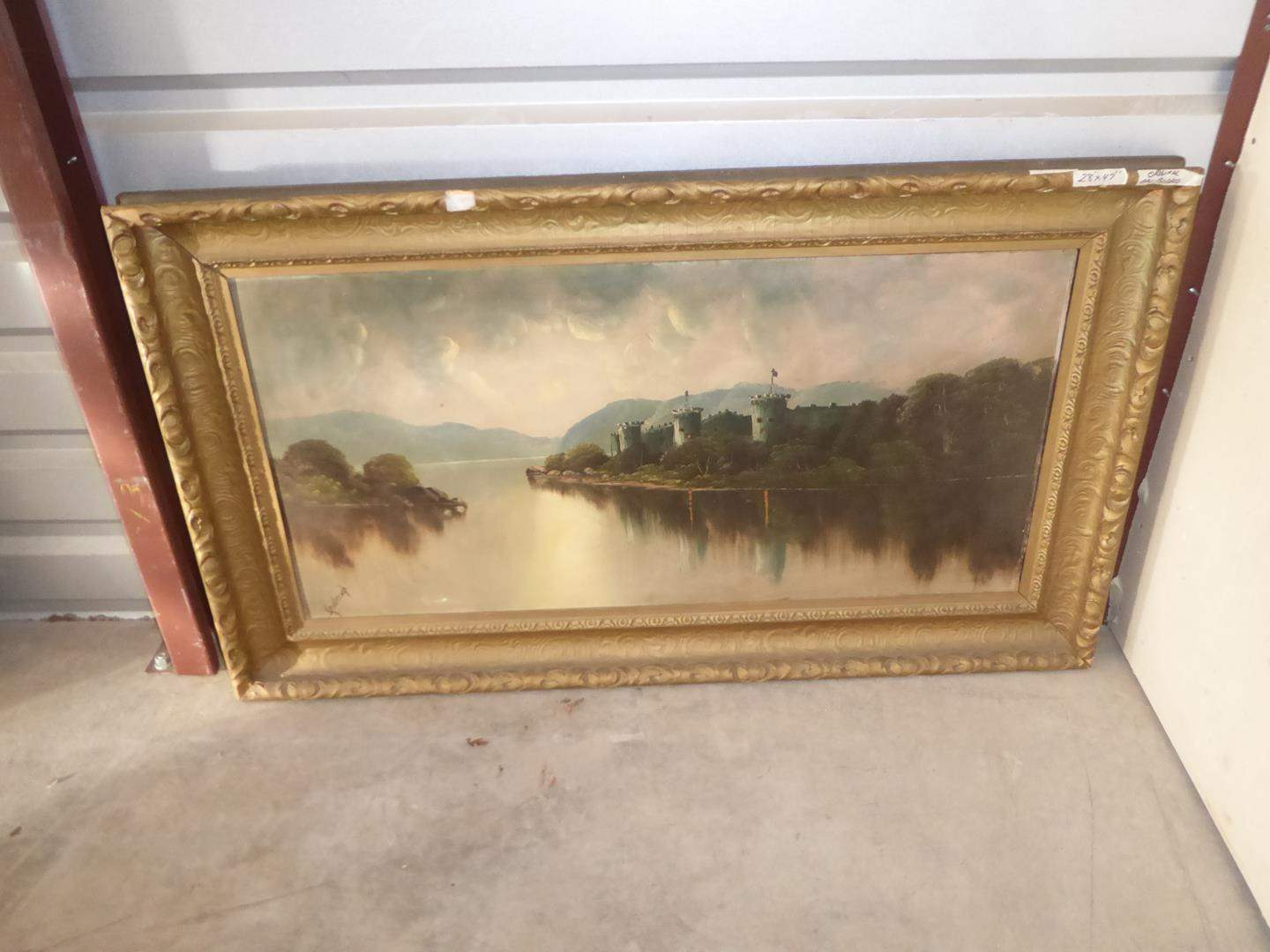 Lot # 56 - Large Vintage Framed Original Oil on Board Signed Painting (main image)