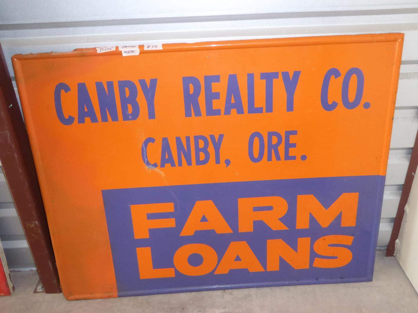 Lot # 58 - Vintage 'Canby Realty Co.' Farm Loans Painted Metal Sign (main image)