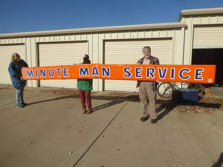 """Lot # 60 - Fantastic Vintage Porcelain Metal 2 Piece Union 76 Gas Station  """"Minute Man Service"""" Sign (main image)"""
