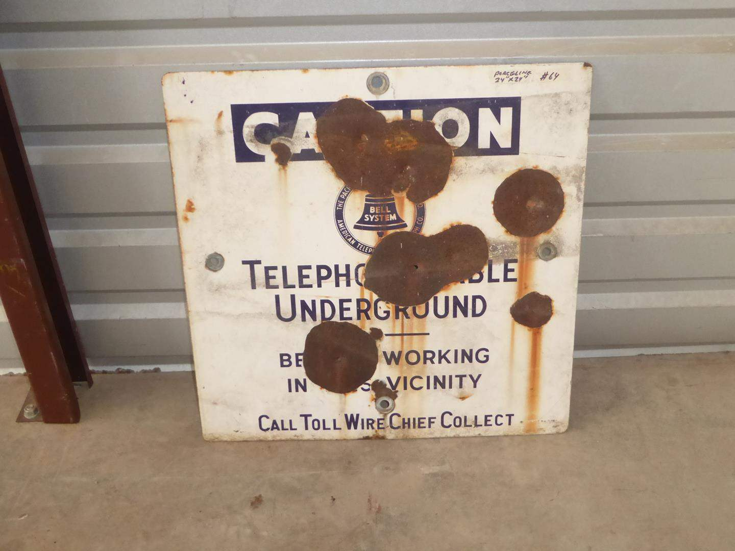 Lot # 64 - Vintage 'Bell System' Caution Telephone Cable Underground Porcelain Metal Sign (main image)
