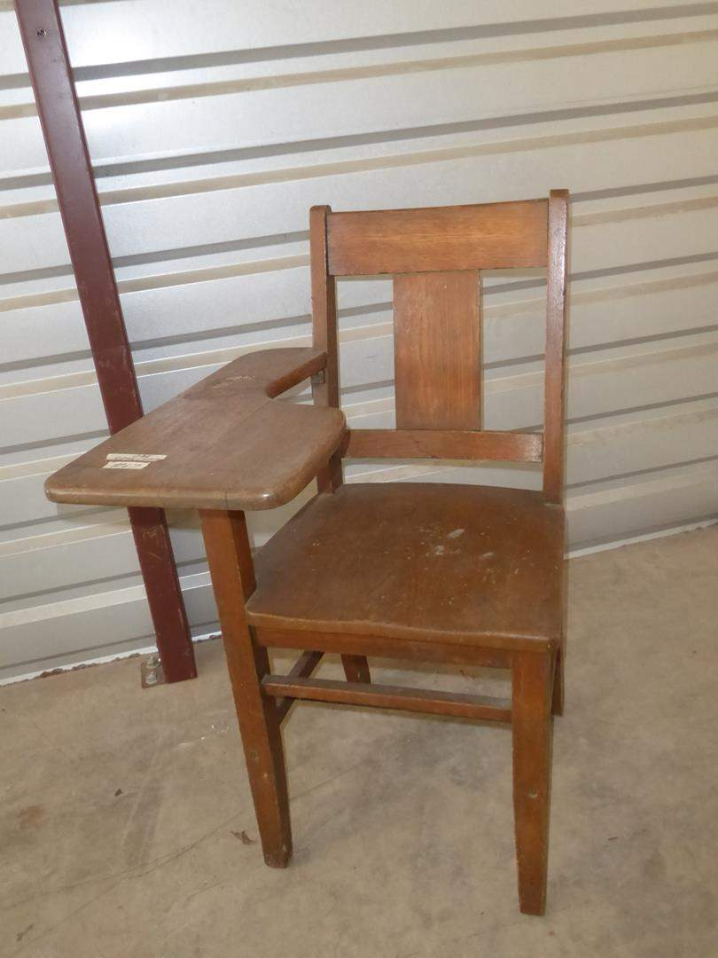 Lot # 67 - Vintage Solid Oak School Desk Chair (main image)