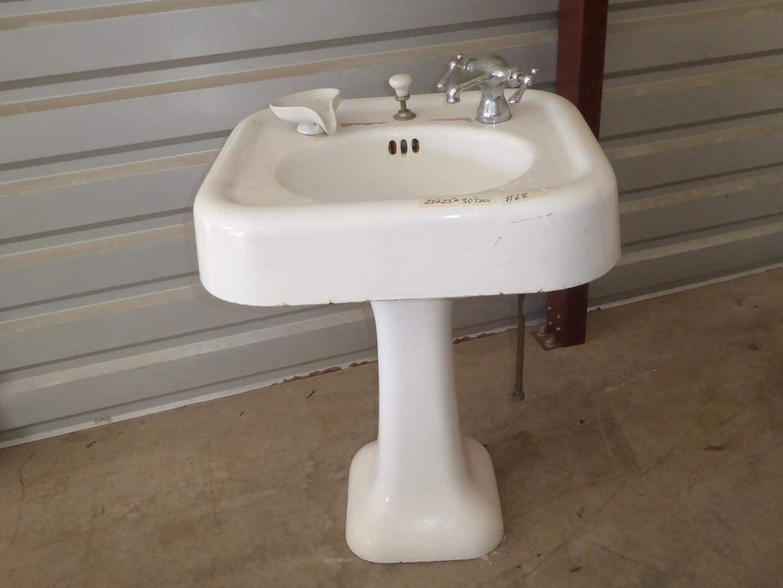 Lot # 68 - Vintage Porcelain Cast Iron Pedestal Sink (main image)