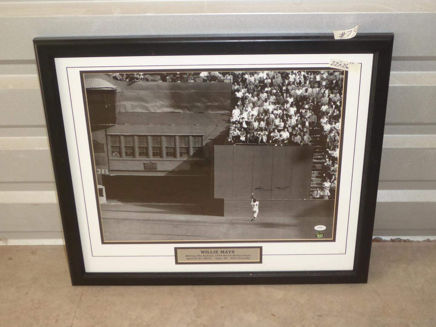 Lot # 73 - Framed Signed Willie Mays Photo Print (main image)