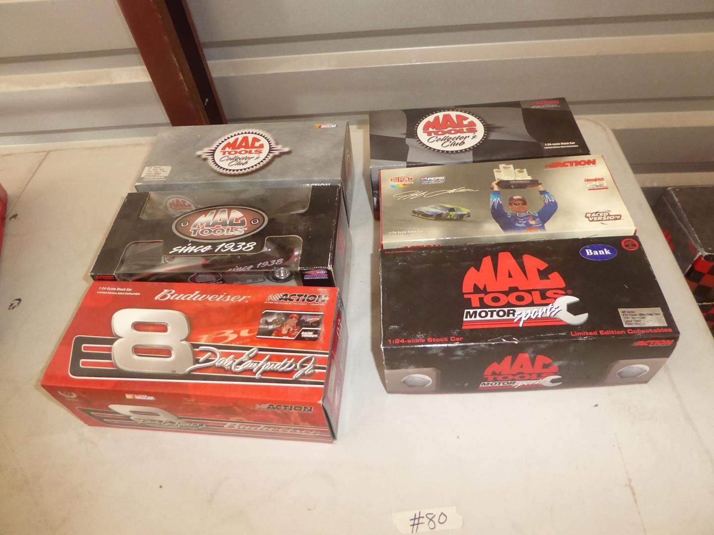 Lot # 80 - Dale Earnhardt Jr., Jeff Gordon & Mac Tools Adult Collectible Cars & Bank (NIB) (main image)
