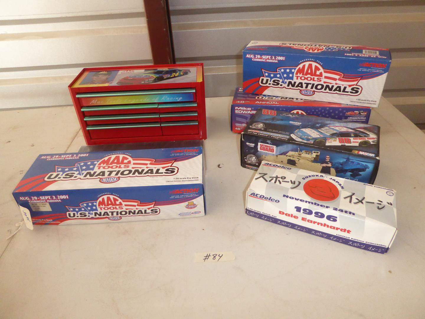 Lot # 84 - Jeff Gordon Toy Toolbox, Mac Tools, & Nascar  Collectible Stock Cars (NIB) (main image)