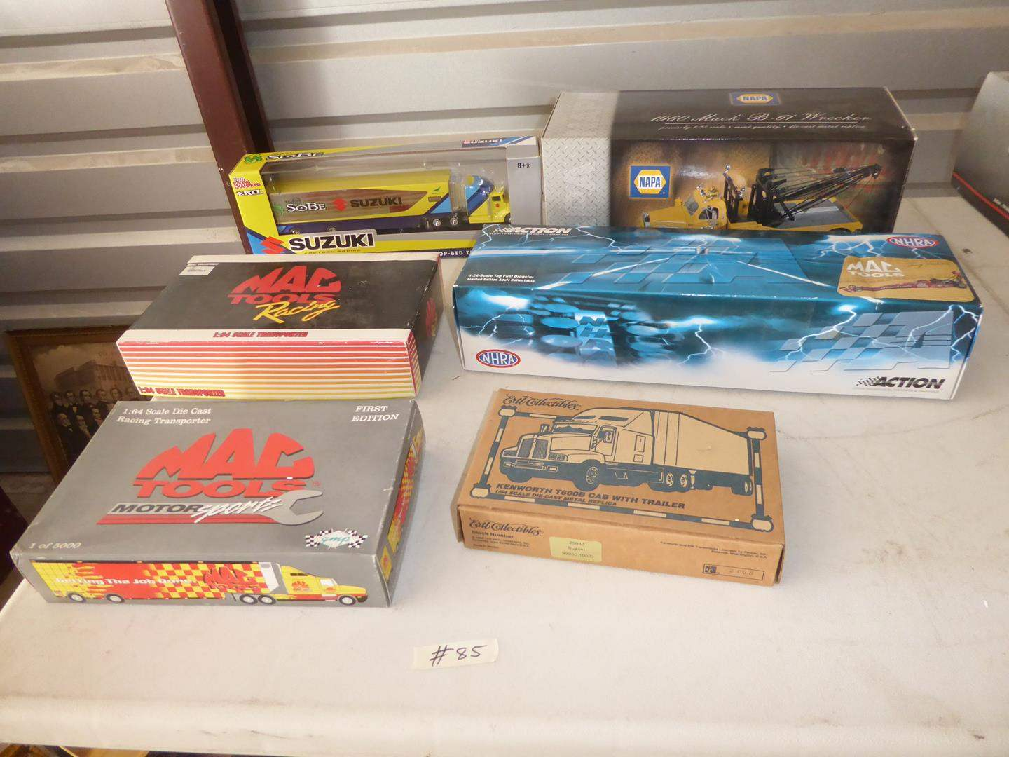 Lot # 85 - Collectible Die Cast Racing Transporter, Cab w/Trailer, Dragster, Wrecker & More (NIB) (main image)